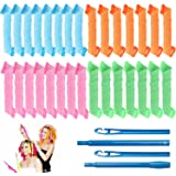 30 Pcs Hair Curlers Spiral Curls Heatless Hair Curlers Styling Kit with 2 Pieces Styling Hooks for Most Kinds of Hairstyles (