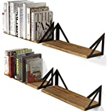 Wallniture Minori Floating Shelves Set of 4, Small Bookshelf Unit for Bedroom, Office, Bathroom, and Living Room, Natural Bur