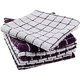 DII 100% Cotton, Machine Washable, Ultra Absorbant, Basic Everyday 12 x 12 Terry Kitchen Dish Cloths, Windowpane Design, Set