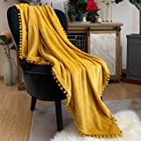 LOMAO Flannel Blanket with Pompom Fringe Lightweight Cozy Bed Blanket Soft Throw Blanket fit Couch Sofa Suitable for All Seas