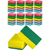 DecorRack 40 Cleaning Scrub Sponges for Kitchen, Dishes, Bathroom, Car Wash, One Scouring Scrubbing One Absorbent Side, Abras