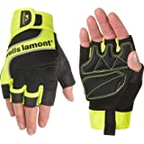 Wells Lamont Men's Hi-Viz Fingerless Synthetic Leather Work Gloves, Medium (841YM)