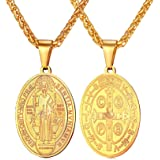 U7 Saint Benedict Medal Pendant Celtic Cross Christian Jewelry Stainless Steel/18K Gold Plated Necklace