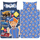 Blippi Single Duvet Cover - Official Reversible Bedding Set - Polycotton - Youtuber Tractor Song Design