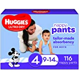 Huggies Ultra Dry Nappy Pants, Boy, Size 4 (9-14kg), 116 Count, Packaging May Vary, Pack of 2 x 58