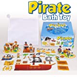 Learn & Climb Interactive Bath Toys for Boys - Play and Build Your Own Pirate Ship. for Boys Ages 3-4-5, Toddlers and Kid - P