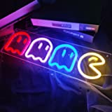Ajoyferris Ghost Neon Signs Neon Lights 16''x 6'' Pac Man Led Sign Retro Decor Arcade for Game Room Decor with USB/Swicth Led