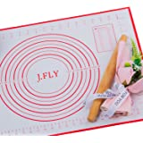 J.FLY Silicone Pastry Mat 16 x 24inch Non-Stick Baking Mat with Measurement Extra-Thick Large Multipurpose Countertop Protect