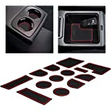 Custom Fit Cup and Console Liner Acessories for Subaru WRX 2015 2016 2017 2018 2019 2020 (Red Trim)