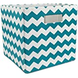 DII Hard Sided Collapsible Fabric Storage Container for Nursery, Offices, & Home Organization, (13x13x13) - Chevron Teal