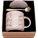 Luspan Grandma Mug Gifts - Best Gifts for Grandma - Best Grandma Ever Pink Marble Ceramic Coffee Cup 11.5oz and FREE Lid