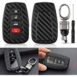 EEEKit Carbon Fiber Looks Silicone Key Fob Chain Cover Case for 2018-2019 Toyota Camry/Camry Hybrid/C-HR, 2016-2018 Prius/Pri