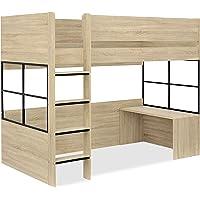 ハイタイプ 木製 ロフトベッド Peep(ピープ) システムベッド デスク付き (ヴィンテージオーク/ブラック)
