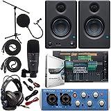 Presonus AudioBox 96 Audio Interface Full Studio Bundle with Studio One Artist Software Pack w/Eris 3.5 Pair Studio Monitors