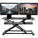 TechOrbits Standing Desk - Stand Up Desk Converter and Monitor Riser - Height Adjustable Sit Stand Tabletop Workstation