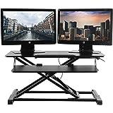 TechOrbits Standing Desk - Stand Up Desk Converter and Monitor Riser - Height Adjustable Sit Stand Tabletop Workstation