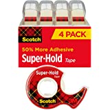 Scotch Brand Super-Hold Tape, Strong and Durable, Glossy Finish, Engineered for Sealing, 3/4 x 650 inches, 4 Dispensered Roll