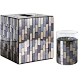 Whole Housewares Bathroom Accessory Sets Black/Gold Tile Mosaic Glass Bathroom Accessories - Tissue Cover and Tumbler