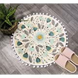 Uphome Round Small Area Rug 2ft with Chic Pom Pom Fringe Floral Velvet Bathroom Rugs Field Plants Non-Slip Soft Floor Throw R