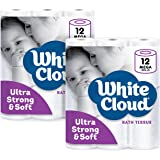 White Cloud 2-Ply Strong & Soft Toilet Paper, 308 Sheets per Roll,12 Count (Pack of 2)