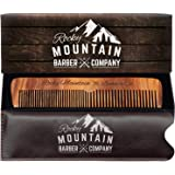Hair Comb - Wood with Anti-Static & No Snag with Fine and Medium Tooth for Head Hair, Beard, Mustache with Premium Carrying P