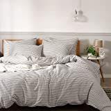 JELLYMONI 100% Natural Cotton 3pcs Striped Duvet Cover Sets,White Duvet Cover with Grey Stripes Pattern Printed Comforter Cov