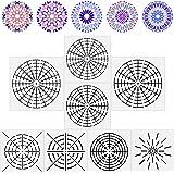 8 Pieces Mandala Dotting Stencils Reusable Mandala Stencil Template 8/12/ 16 Segment Mandala Painting Drawing Stencils for DI