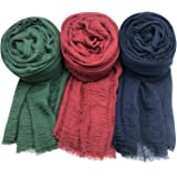 Cotton crinkled scarf wrap shawl hijab, 3 Pcs Cotton Scarves, Cotton Hemp Scarves 3 Color