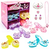 Girls Princess Dress up Shoes Set Hodola Girls Play Shoes and Jewelry Boutique Role Play Collection Shoes Set Gift Set with P