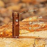 RovyVon A9 Copper Mini LED Flashlight, 650 Lumens, Cree XP-G3 USB Rechargeable flashlight, EDC Gears for Gift Light Thanks-gi