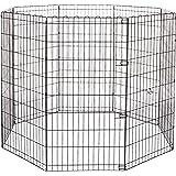 Amazonベーシック ペット 犬用 エクササイズフェンス プレイサークル 折りたたみ可能 金属製 152 x 152 x 122cm