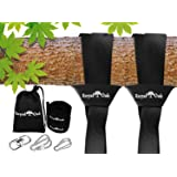 Easy Hang (4FT) Tree Swing Strap X2 - Holds 4400lbs. - Heavy Duty Carabiner - Bonus Spinner - Perfect for Tire and Saucer Swi