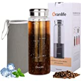 Cold Brew Coffee Maker, Portable Iced Coffee and Tea Infuser with Airtight Lid, Reusable Stainless Steel Mesh Filter for Iced
