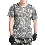 (ガンフリーク) GUN FREAK 迷彩柄 半袖 Tシャツ タクティカル ストレッチ メッシュ サバゲー (ACU 迷彩, L)