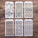 DIY Decorative Stencil Template for Scrapbooking Painting on Wall Furniture Crafts, Set of 6 (Seamless Geometry)