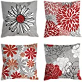 COLORPAPA Pillow Covers 18x18 Set of 4 Black and Red Decorative Throw Pillow Cover for Couch Modern Daisy Pillows Case for Li