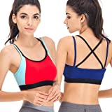 Curve Muse Womens Plus Size Racerback Strappy Active Fitness Sports Bra 1 2PK
