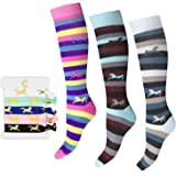 Cantik Equestrian Socks & Horse Hair Ties - Horse Themed Gift For Girls & Horse Lovers. Knee High Horse Socks (3 Pairs), Soft