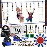 Gentle Booms Sports Ninja Line Obstacle Course Kit Monkey Bar Kit 40 Foot, Kids Slackline Hanging Obstacle Course Set, Extrem