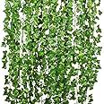 DearHouse 12 Strands Artificial Ivy Leaf Plants Vine Hanging Garland Fake Foliage Flowers Home Kitchen Garden Office Wedding