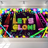 Neon Glow Party Backdrop Fabric Let Glow Background Glow Party Themed Backdrop Neon Birthday Party Decorations for Neon Theme