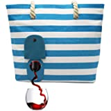 PortoVino Beach Tote - Wine Handbag with Hidden, Insulated Compartment, Holds 2 Bottles of Wine! (Turquoise & White)