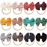 inSowni 12 Pack Soft Stretchy Nylon Bow Headbands Hairbands Hair Ties Elastics Accessories for Baby Girls Toddlers Newborns I