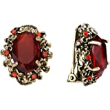 BriLove Women's Victorian Style Crystal Floral Cameo Inspired Oval Clip-On Earrings