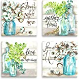 JLXart Wall Art for Bedroom Canvas Print Beautiful Watercolor-Style Family Gathers Here and Forever Home Mason Jar Floral Art