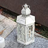 Lewondr Decorative Candle Lantern, 10.2 Inch Shabby Chic Style Lantern with Fleur De LYS Patterns Classic French Style Decora