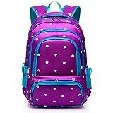 Hearts Print School Backpacks for Girls Kids Elementary School Bags Bookbag