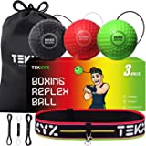 TEKXYZ Boxing Reflex Ball, 2/3/4 Different Boxing Ball with Headband, Softer Than Tennis Ball, Perfect for Reaction, Agility,