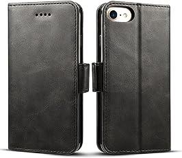iPhone8 ケース 手帳型 iPhone7 iphone6s - Rssviss サイドマグネット カード入れ 横置き機能 ストラップ通し穴 高級PUレザー (iPhone6/6s/7/8兼用) W2 ブラック
