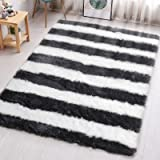PAGISOFE Modern Abstract Shag Area Rugs for Living Room Bedroom 4x5.3 Feet Plush Fuzzy Patterned Rugs Colored Footcloth Carpe